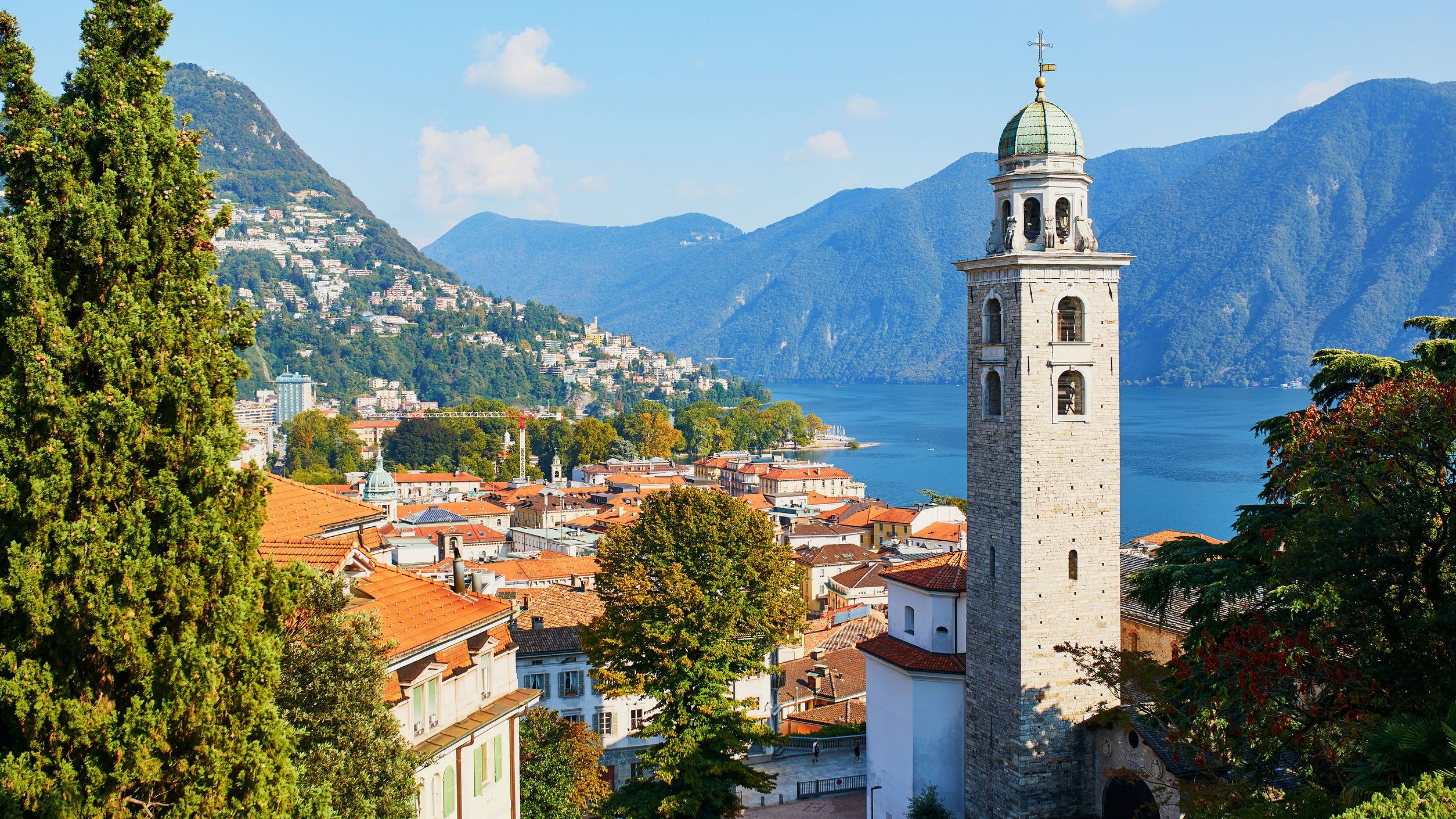 Scenic view to the old town of Lugano, canton of Ticino, Switzerland